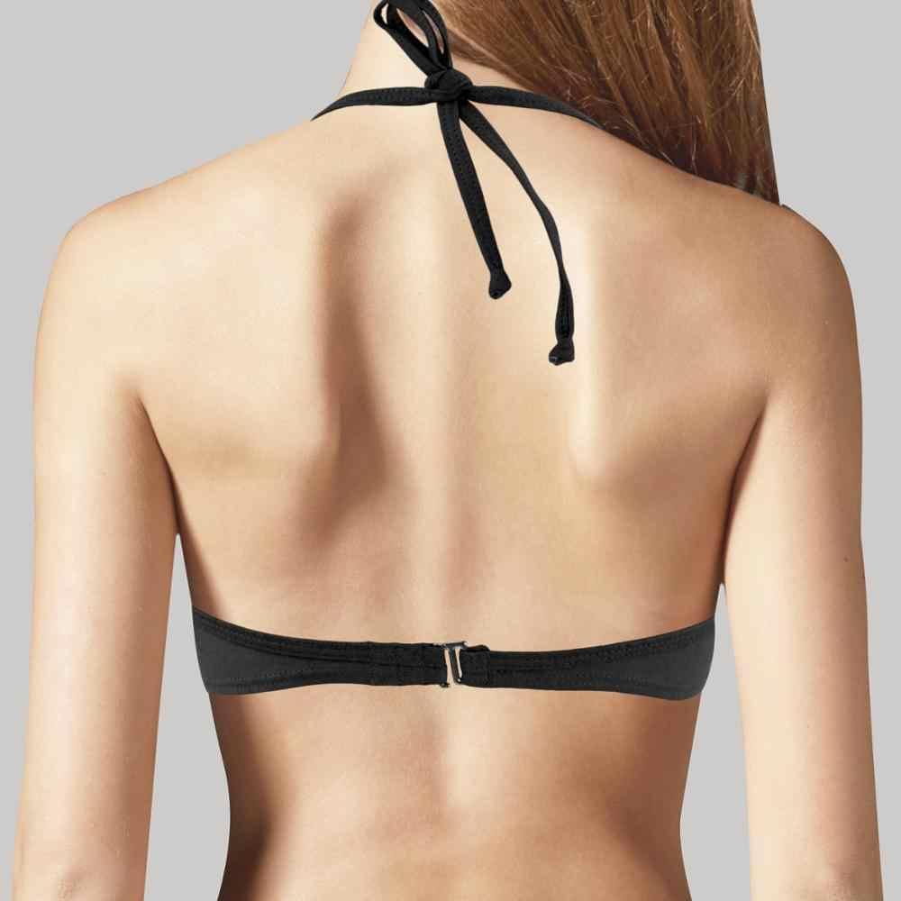 Bikini Top 2019 Sexy kobiet jednolity kolor stroje kąpielowe drukuj strój kąpielowy bandaż plaża pływanie sportowe biustonosz Halter lato plaża Biquini T609