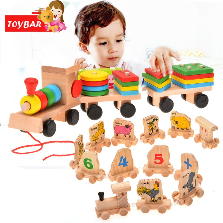 Funny Learning Education Toy Stacking Train For Baby Boy Kids Girls Children Wooden Toys Puzzles Wood Toy Gift SV014443 30 dayan gem vi cube speed puzzle magic cubes educational game toys gift for children kids grownups