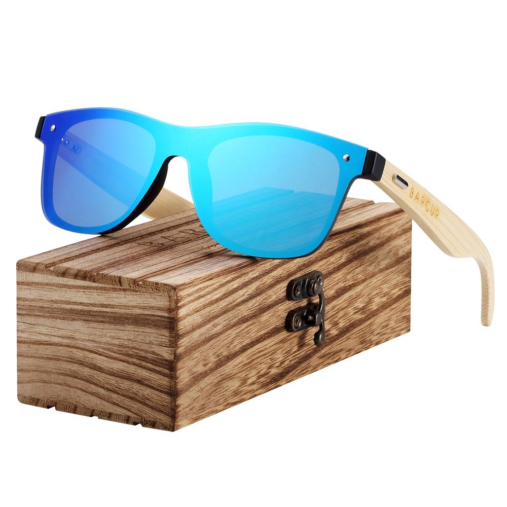 BARCUR New Polarized Bamboo Sunglasses for Men Women Handmade Wood Sun Glasses Black Lenses UV400 Eyewear