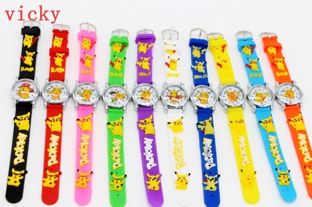 Good Gift! 10pcs/lot Cartoon Pattern Boys Girls Students Kids Pikachu Silicone New Analog Quartz Wrist Watches