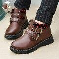2017 осень и зима мальчиков абсолютно верно обувь из натуральной кожи мальчик дети мода обувь дети квартиры обувь мальчики черный школы