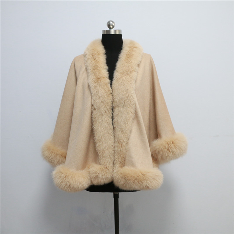 Free shipping, Drop shipping, spring autumn winter women beige color real fox fur trim cashmere cape for audlt size