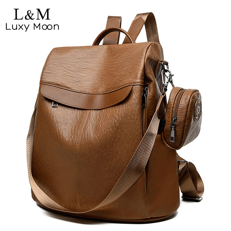 Brown Women Backpack Leather School Bags For Teenage Girls Casual Large Capacity Multifunction Retro Travel Rucksack 2019 XA163H