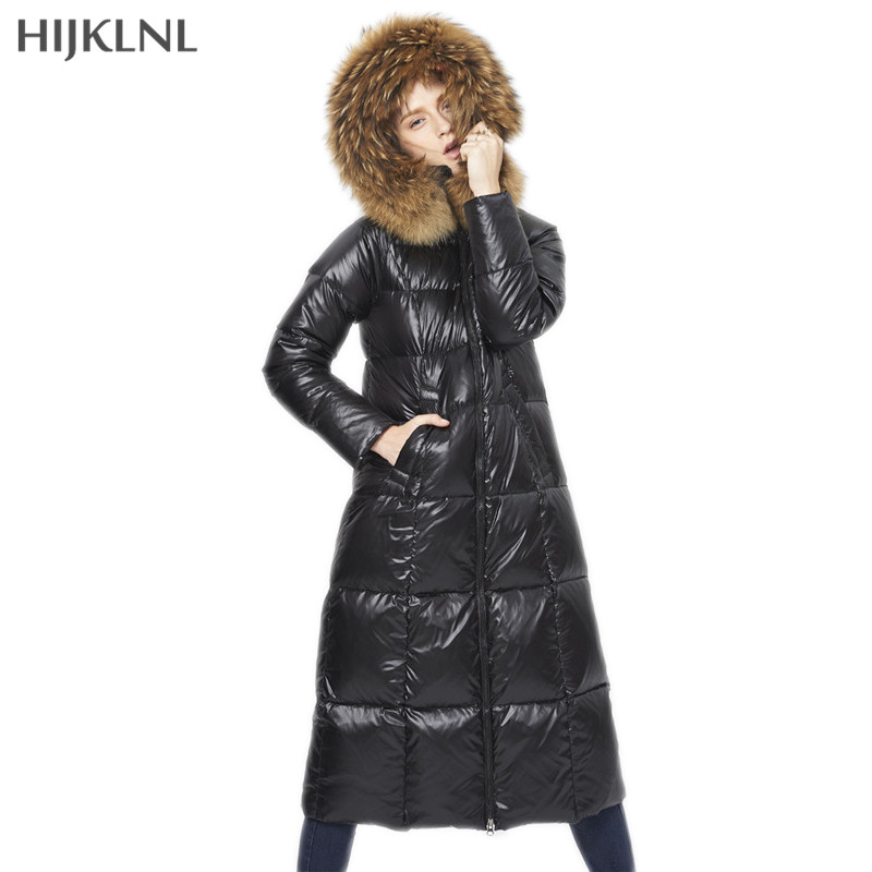 HIJKLNL Nature Raccoon Fur Collar Hooded   Down     Coat   2019 New Women Winter Jacket Plus Size Slim Long Fashion   Down     Coat   LH1266
