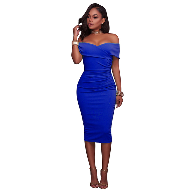 Summer Dresses Women Black Sexy Off Shoulder Party Dress 2017 Fashion  Elegant Knee-Length Bodycon Sexy Dress Clothes LJ9435C ccfc1986b12d