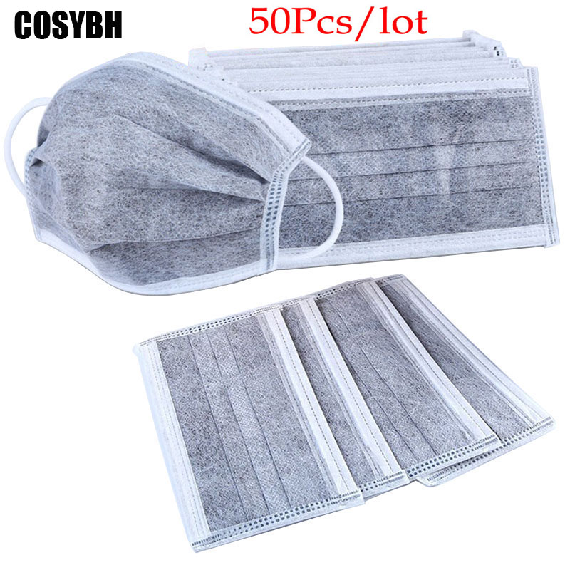 50Pcs/lot 4-layer activated carbon anti fog dust disposable masks садовый пылесос воздуходувка mtd bv 3000 g