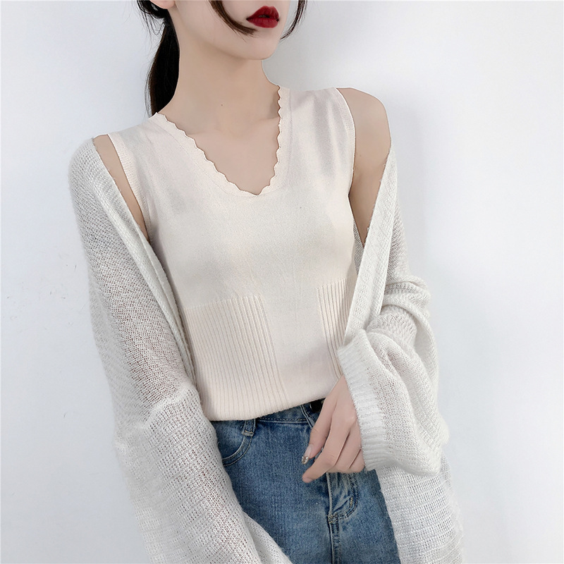 Hot Women Casual Solid Sleeveless Knitted Ice Silk Tank Tops V-neck Female All-match Basic Slim New Arrival