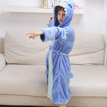 Children's day Spring Winter Kid's Bathrobe Flannel Stitch Robe For Boy Girl Kids Cartoon Thick Long Sleeve Pajamas Homewear