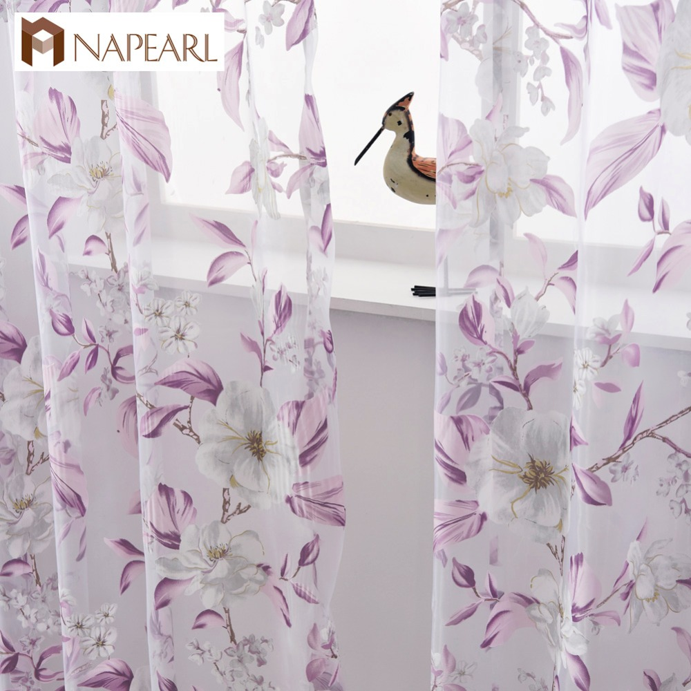 Floral Tulle Curtains Modern Sheer Fabrics Purple Home Textile Kitchen Door Curtains  Short Curtains Living Room Window Treatment