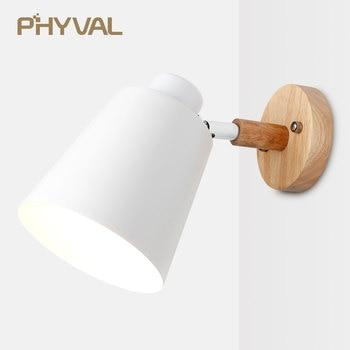 wooden wall lights bedside lamp sconce modern light for bedroom Nordic macaroon 6 color steering head E27 85-285V - discount item  69% OFF Indoor Lighting