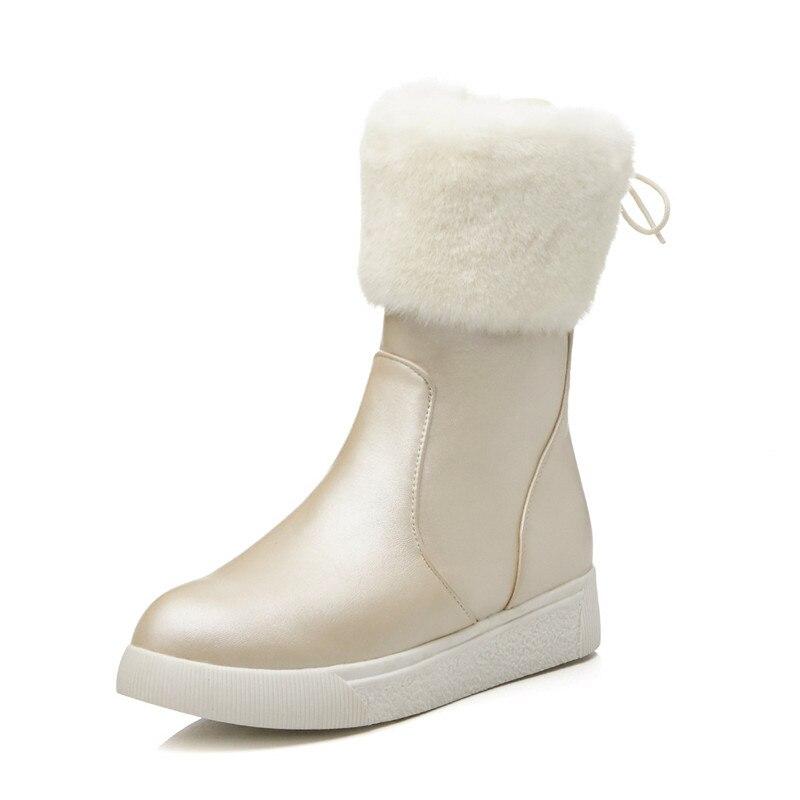 D'hiver Ymechic Femmes Croix forme 2018 Grande Chaussures En Plate Noir Taille Zip Mode Liée Dames Bottes Beige Neige Mi De Chaud Peluche noir mollet rCPHxCYqw
