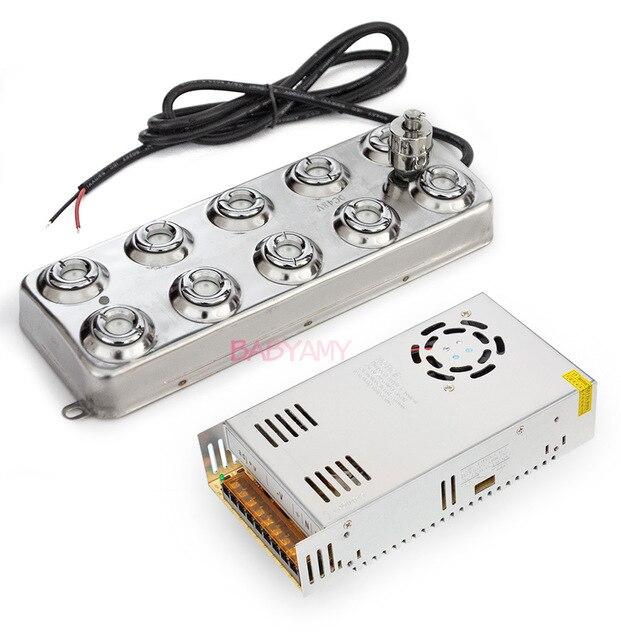 Atomizador ultrasónico DC 48V 5000 ML/H, Humidificador Industrial, máquina de niebla, generador de niebla ultrasónica, 10 cabezales con potencia