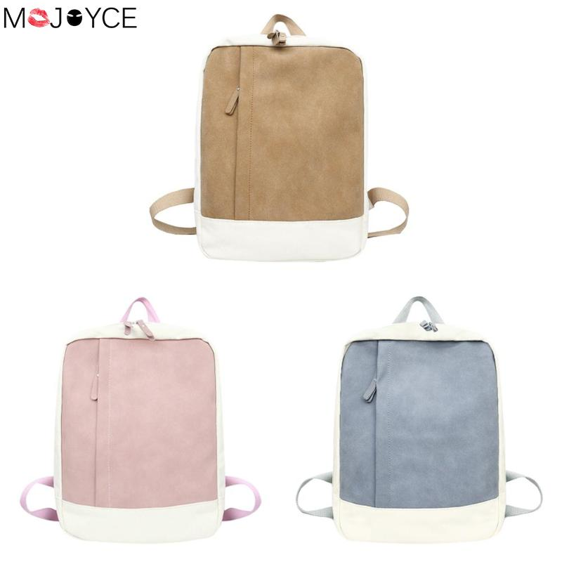 Simple Women Backpacks Girls Patchwork Color Canvas Large Capacity Shoulder Bag Schoolbag Feminina Canvas Splicing Bags