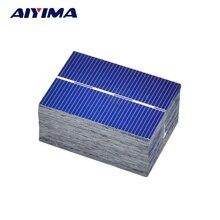 AIYIMA 100Pcs 0.5V 0.35W Solar Panel Solar Cell Color Crystal Module Sun Power Bank 39x52MM DIY Solar Battery Charger