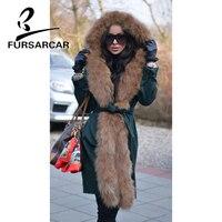 FURSARCAR натуральным мехом пальто Для женщин роскошный Зимний Толстая Обувь на теплом меху парка 90 см длинные женские парка с лисой меховой отд