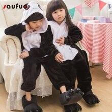 Panda Flannel Hoodie Pajamas For Kids Costume Cosplay Winter Animal Onesie Anime Unisex Cartoon Sleepwear Adult Women Pijama