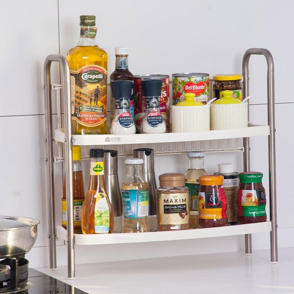 2tier Spice Rack Holder Kitchen Cupboard Jar Shelf