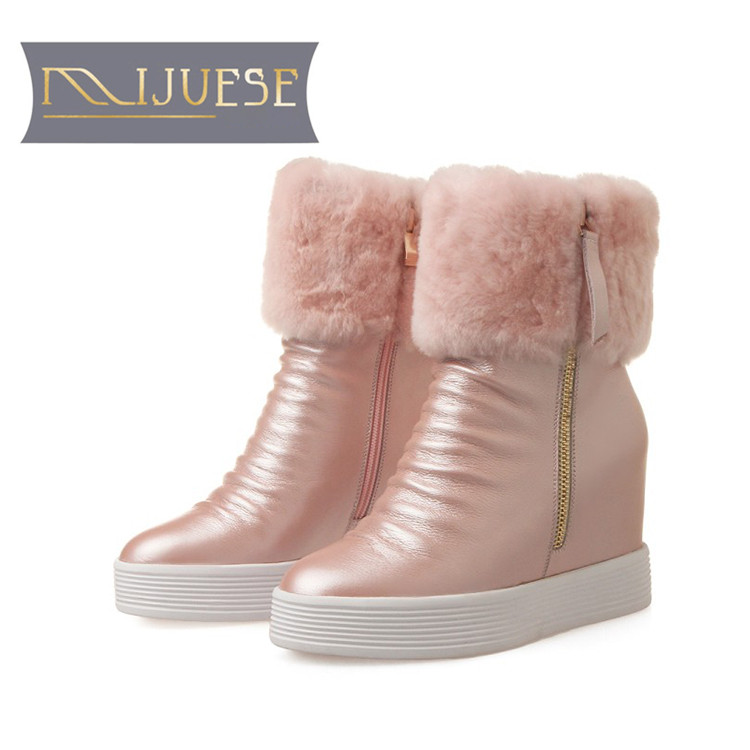 цена на MLJUESE 2019 women Mid calf boots cow leather wool warm winter platform wedges short plush women snow boots casual boots