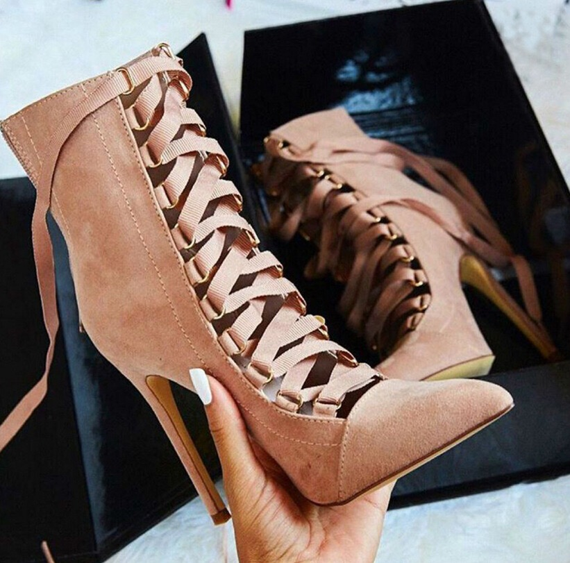 Large Size High Heel Women's Fine With Pointed Cross Straps Bare Boots 12CM Super Heels Lace Up High Heels Boots Open Back plus size open back floral lace up tank top