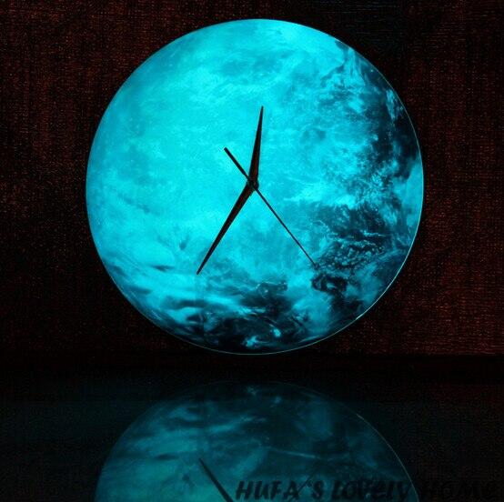 30cm 12 Inch Quartz Round Luminous Earth Wall Clock 3d
