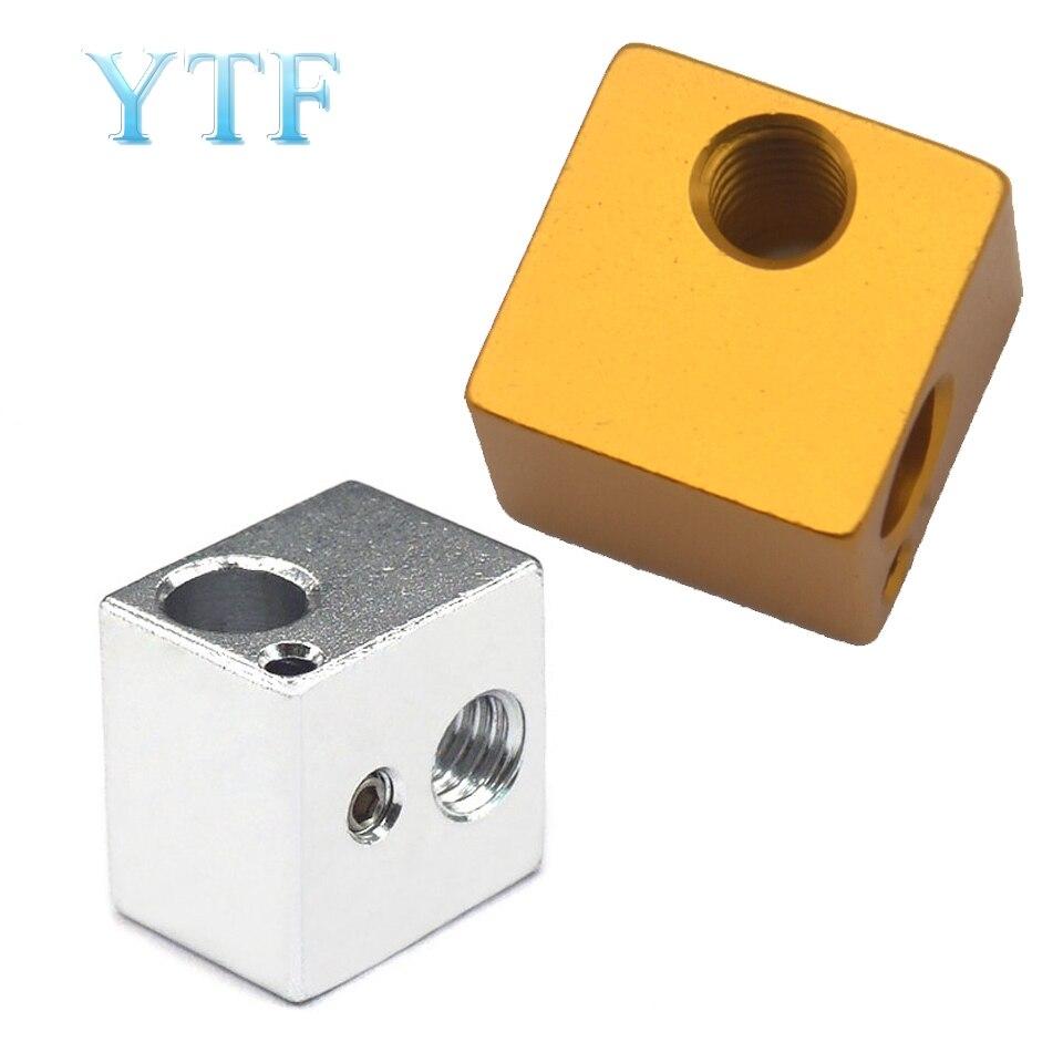 3D Printer Aluminium Heat Block For V5 J-head MK7/MK8 Extruder 16mm*16mm*12mm Aluminum HotEnd Hot End Heating Blocks Accessories