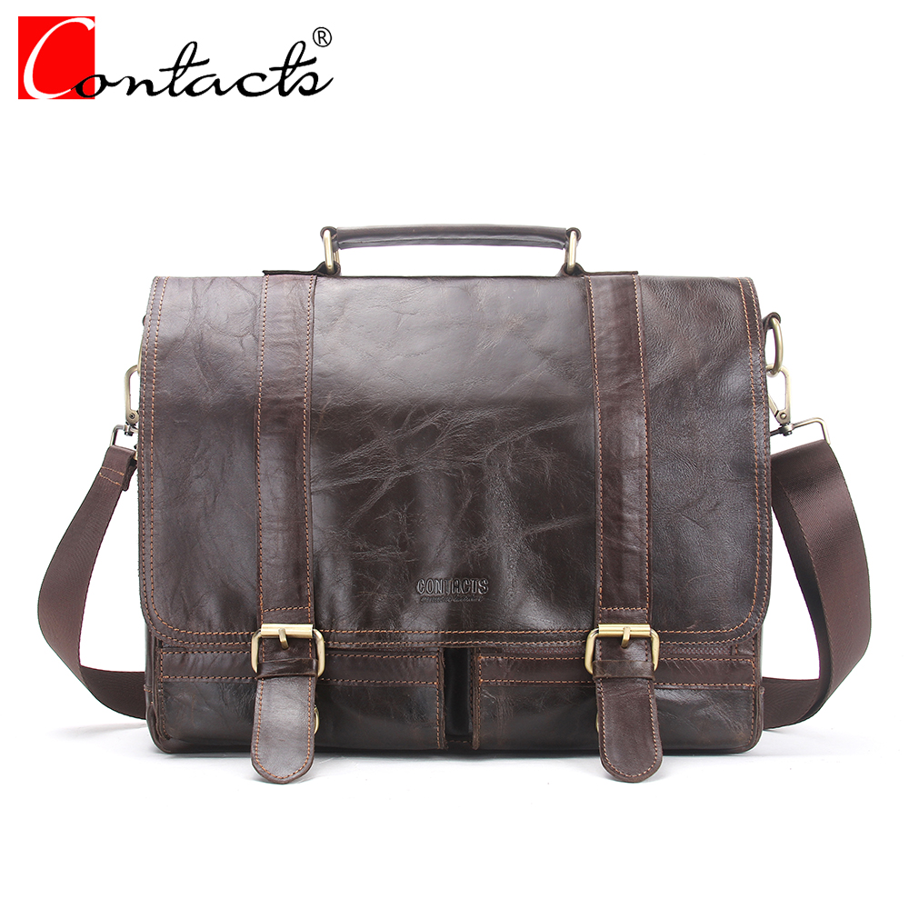 CONTACT'S Genuine Soft Leather Men bags Fashion Men Messenger Bag Laptop Briefcase Male Business Bags Vintage Cover Handbag 2017