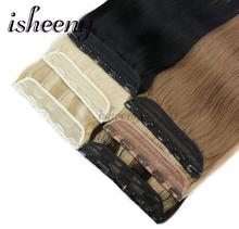 "Isheeny 14"" 18"" 22"" Clip In One Piece Brazilian Hair Clips Tic Tac 5 clips Remy Hair piece Straight Clip Human Hair Extensions(China)"