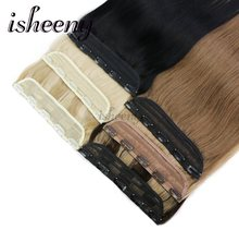 Isheeny 14″ 18″ 22″ Clip In One Piece Brazilian Hair Clips Tic Tac 5 clips Remy Hair piece Straight Clip Human Hair Extensions