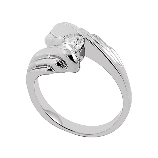 TR-8 High Polished Shinning Lover's Finger Ring 316L Stainless Steel Men/Women Gift Party Ring Crystal Setting Ring