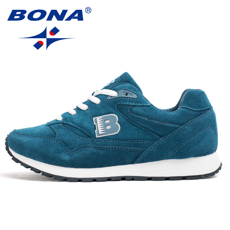 BONA New Popular Style Women Running Shoes Cow Split Breathable Lace Up Sport Shoes Light Soft