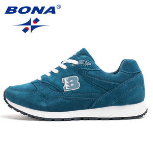 BONA Sneakers Light Sport-Shoes Outdoor Breathable Lace-Up Soft Women Cow-Split Popular-Style