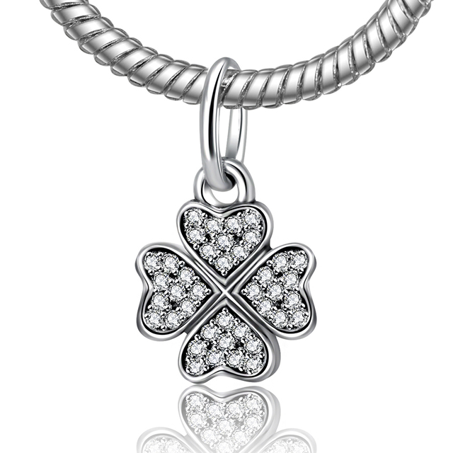 Authentic 925 sterling silver bead sparkling lucky clover with authentic 925 sterling silver bead sparkling lucky clover with crystal pendant charm beads fit pandora bracelets mozeypictures Gallery