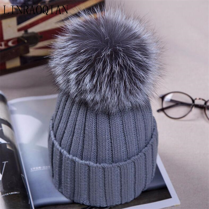 LINRAOQIAN Autumn Winter Hats For Women Caps Fur Ball Hat 12cm Pompom Knitted Bonnet Lady Beanies Warm Cap Beanies Headgear Girl autumn winter beanie fur hat knitted wool cap with raccoon fur pompom skullies caps ladies knit winter hats for women beanies