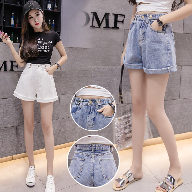 2019 Summer New Loose, Thin, Curled, High Waist, Wide Legged, Wide Legged Jeans Shorts
