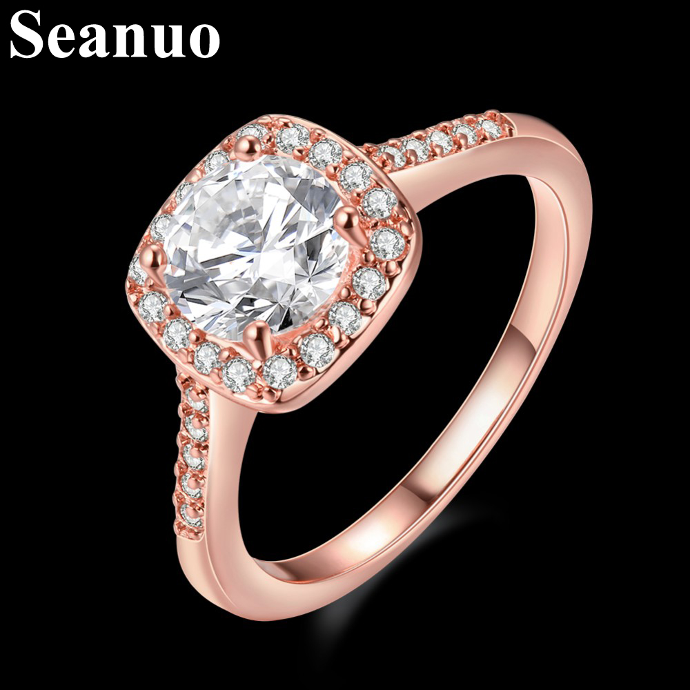 Seanuo Infinity Love Rose gold Austrian crystals women wedding ring fashion stainless steel crystal female bridal ring size 5-9