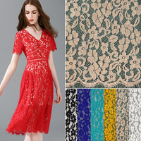 Japanese and Korean dress women's Eyelash Lace Fabric DIY Exquisite Rose flower lace fabric Embroidery Clothes Wedding Dress