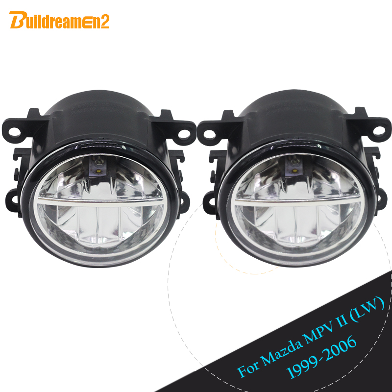 Buildreamen2 2 Pieces Car Styling Front LED Lamp Fog Light Daytime Running Lamp DRL White 12V For 1999 2006 Mazda MPV II (LW)