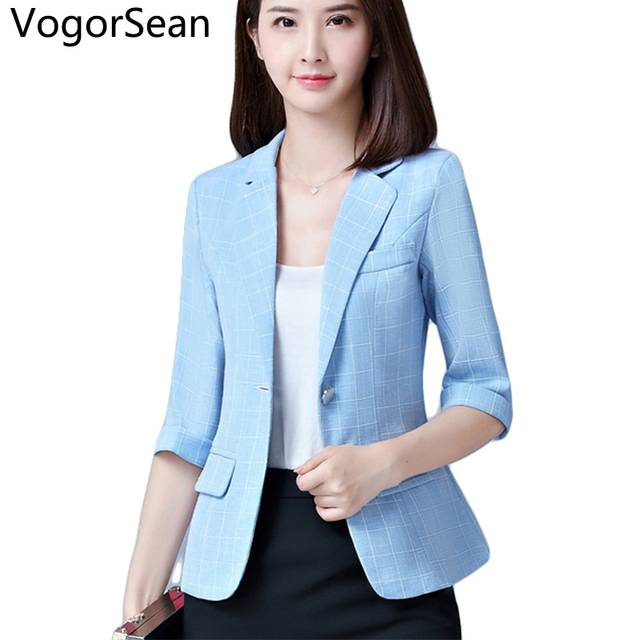 VogorSean Women Formal Basic Blazers Jackets Female Spring Autumn Women New  Half Sleeve Slim Coat Jacket Suit Tops For Work 1093281d64