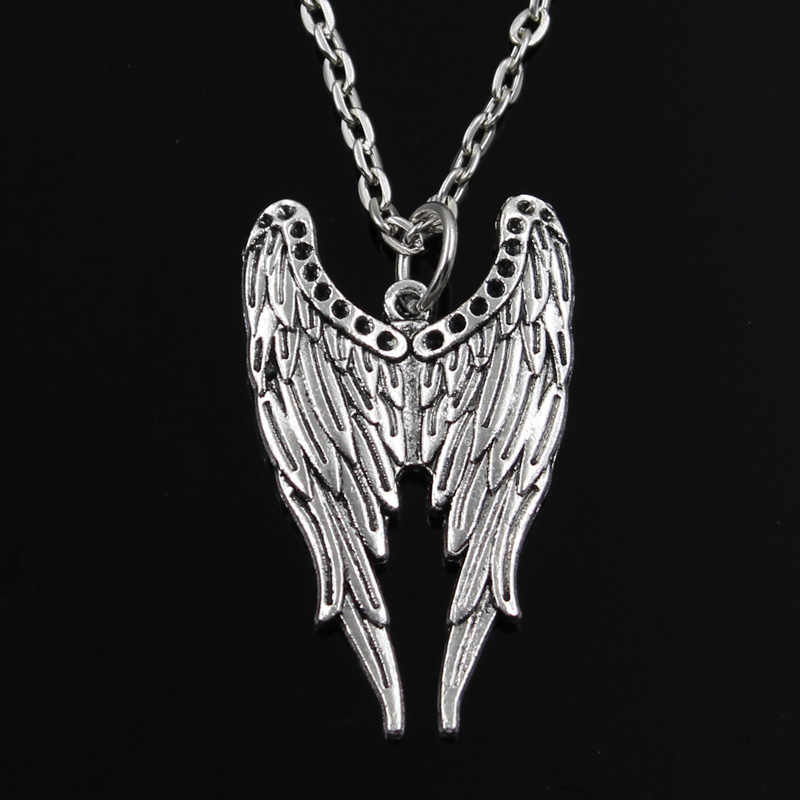 new fashion angel wings Pendants round cross chain short long Mens Womens silver  necklace Jewelry Gift