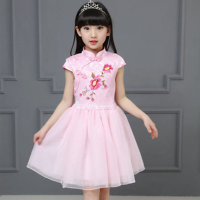 cf74703308c16 Fleurs broderie petites adolescentes robes 6 8 9 10 12 ans style chinois  princesse robe fille