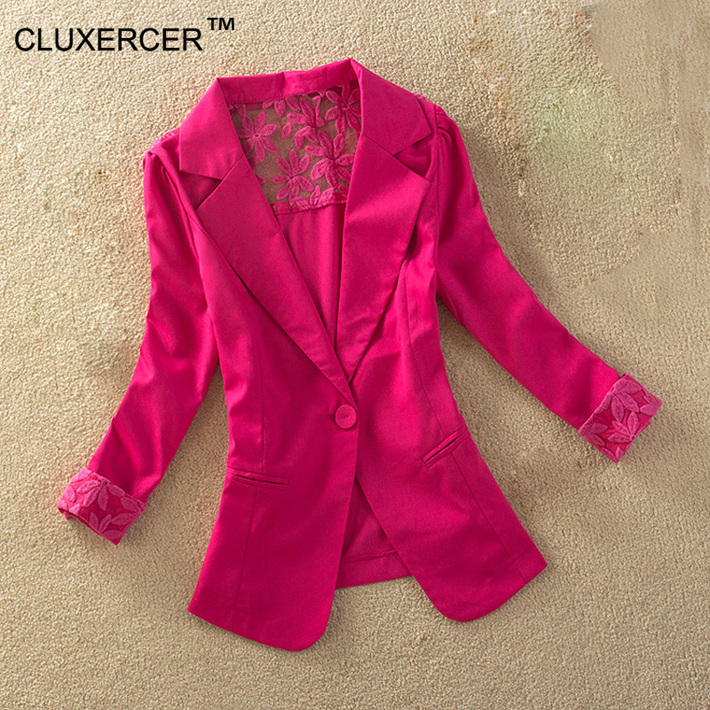 CLUXERCER Brand Women Blazers And Jackets Fashion Casual Spring Jacket Lace Splice White Small Office Work Suit Blazer Women