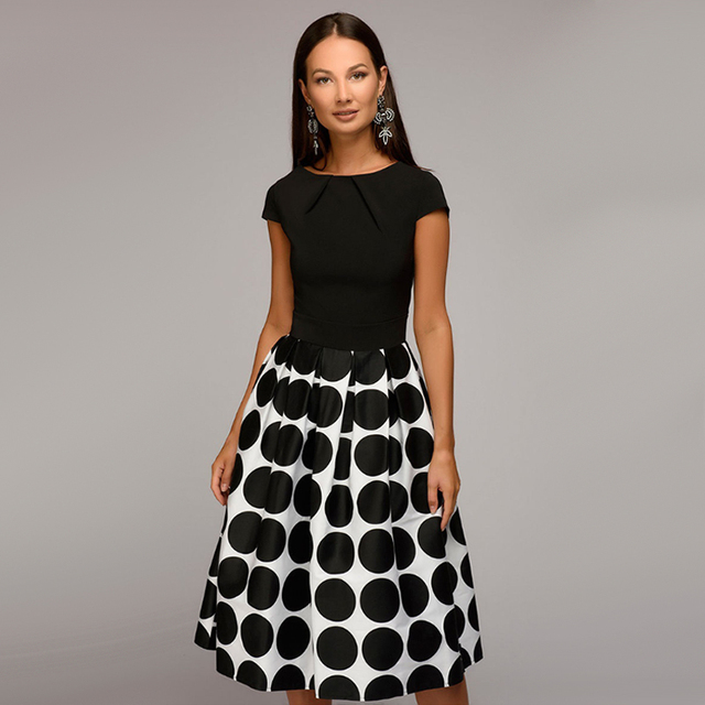 b42a78f11bfc3 US $8.6 20% OFF|Women Fit and Flare Party Dress Vintage Dot Print Summer  Casual Dress 2018 Summer O Neck Short Sleeve Fold Elegant Mid Dresses-in ...