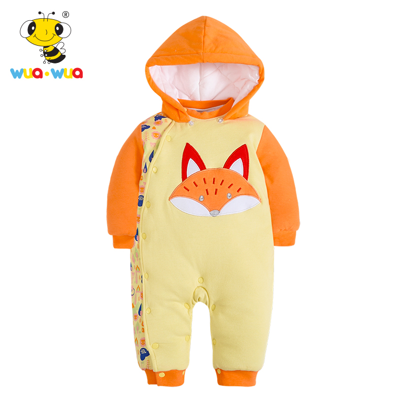 Winter intensificatio Cotton Baby Rompers  children warm down cotton baby Clothing hooded baby Single Breasted Romper warm thicken baby rompers long sleeve organic cotton autumn