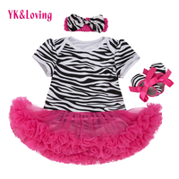 Baby Short Sleeve Dress Girls Tutu Romper Newborn Zebra Stripe Clothes Cotton Girl Clothing Set Infant vestido infantil 3pcs/set