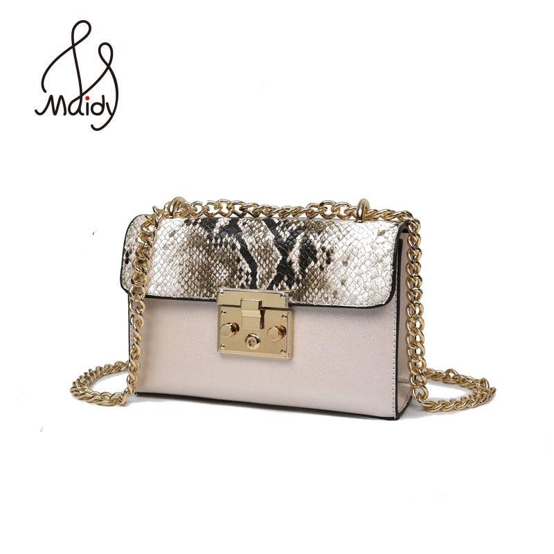 Diseñador de bolsos de mano de alta calidad bolsa de bolso de las mujeres de cuero serpentino metálico cierre de cremallera pequeñas cadenas bolsas solapa bolsas
