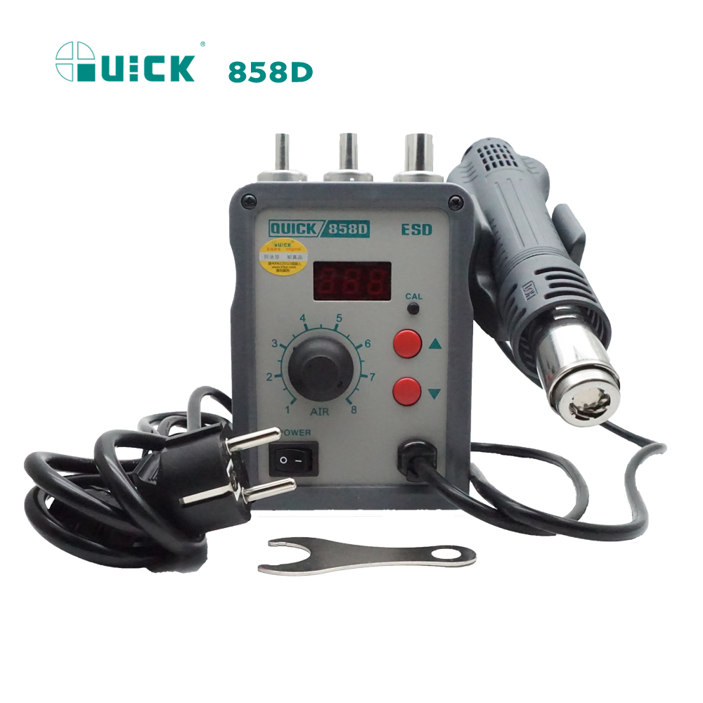 QUICK 858D Rework station lead free adjustable hot air heat gun with Helical Wind 700W soldering station air soldering station quick 858d hot air soldering station 700w 220v heat air gun welding bga smd rework station with led digital display helical wind