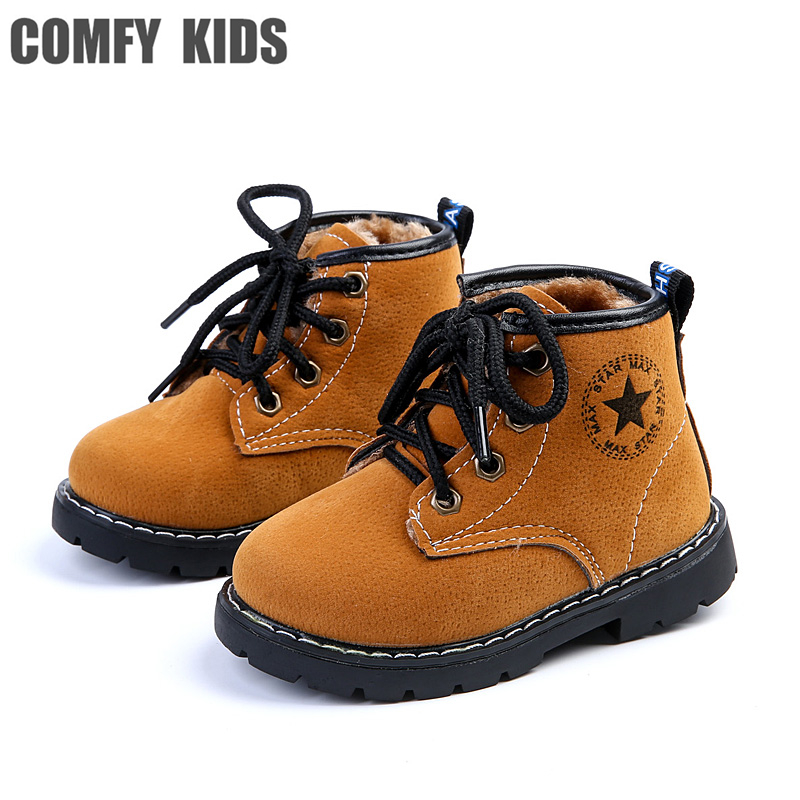 2017 Autumn leather child boots shoes fashion comfy kids flat with boots boys girls size 21-25 snow boots shoes baby boot shoe