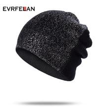 Evrfelan, женская зимняя Лыжная шапочка, Вязанная, Skullies Beanies, шапки, женская модная уличная шапка, шапка для девочек, одноцветная, Gorro