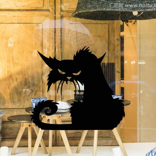 Хэллоуин страшный жуткий Черный кот настенная стеклянная наклейка Хэллоуин украшения наклейки 14,5*13,5 см