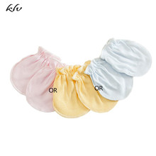 3 Pairs Unisex Baby Mittens No Scratch Anti Grabbing Hands Gloves Soft Cotton Comfortable Solid Colors Infant Face Protector